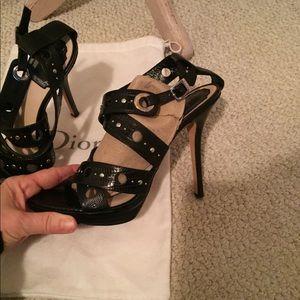 Dior sandals size 38 black studded slingback